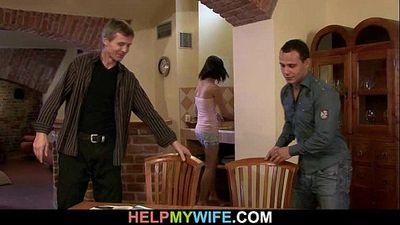 Hot brunette wife cuckolds old husband - 6 min