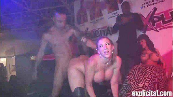 Sara Jay fucks on stage at explicital