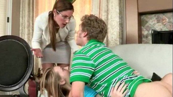Sexy milf Samantha Ryan cum on glasses in this 3some action