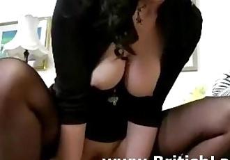 Mature british woman in stockings fucks lucky guy