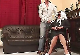 Old Grandma in wheelchair gets healed by hard young dick 4 min HD
