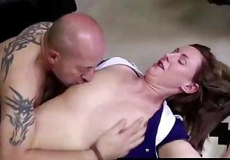 Lara Latex, British MILF, fucked hard by rough boy