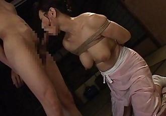 Bound Japanese MILF sucks on a hard cock - 7 min
