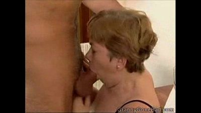 Granny Sucking it and getting her Tits Fucked - 2 min