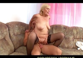 A grandmother fucked on the couch