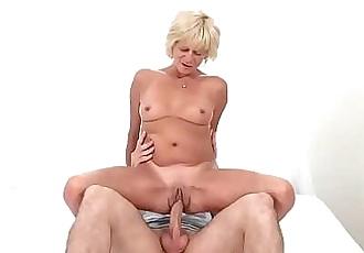 Older blonde rides cock 6 min