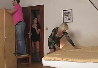 Wife leaves and blonde mommy jumps on his cock - 6 min HD+