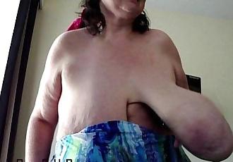 Grany Anika Q - Swinging Massive Dangling Hooters - 1 min 4 sec HD