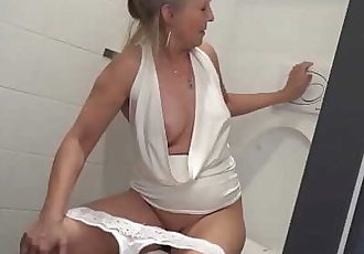 Blonde granny puts toilet brush up young boys asshole 5 min 720p