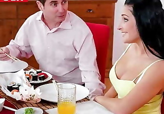 Hot Babe Fucked by Step Dad at Family Dinner (Lucia Denvile) 10 min 1080p