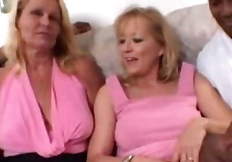 Blonde Moms share a Big Black Cock together in Amateur Wife Threesome Video 46 min