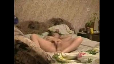 My horny mum masturbating on bed caught by hidden cam - 42 sec