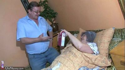 OldNanny Old granny and grandpa is enjoying with young woman - 8 min HD