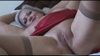 Attractive bust granny in slip and stockings strips - 7 min