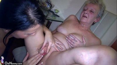 OldNanny Sexy young Girl and skinny old mature have sex with toy - 8 min HD
