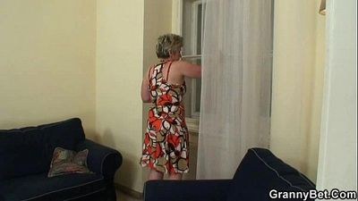 Lonely old widow takes big cock - 6 min