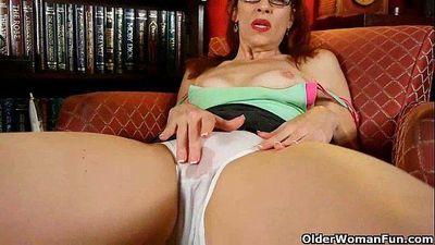 Classy mature lady masturbates in panties and pantyhose - 5 min HD