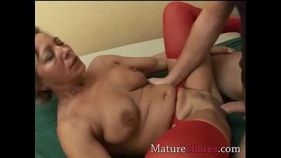Divorcee gets nailed in red nylon - 5 min