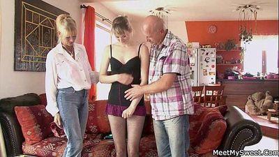 Perverted parents seduces their son\
