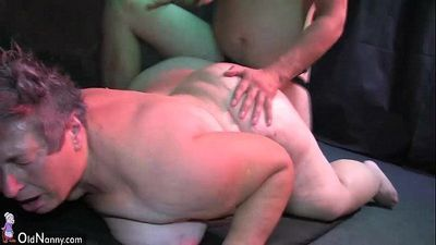 OldNanny Old and young chubby ladies and two guys have group sex - 8 min HD