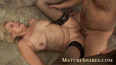 Grandma in black stockings nailed - 6 min