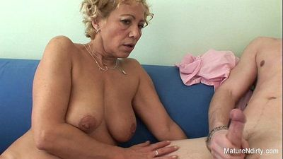 Blonde granny gets cum on her tits - 7 min HD