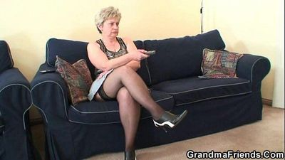 Granny takes two cocks after masturbation - 6 min