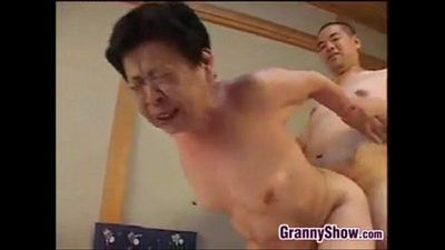Japanese Grandma Giving A Great Blowjob - 4 min