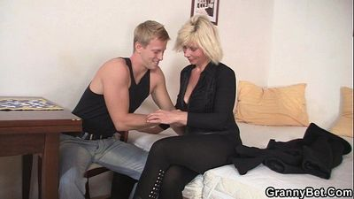 Blonde old women rides his stiff rod - 6 min HD
