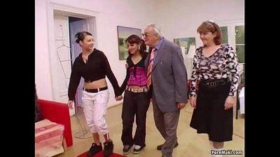 Hot babes suck grandpa\
