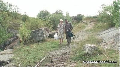 Mature couple having fun in nature - 8 min