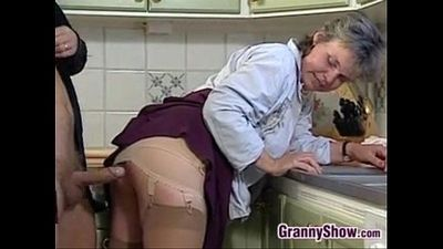 Grandma Sucking And Fucking In The Kitchen - 6 min