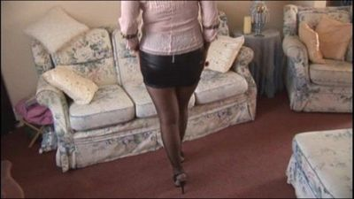 Busty mature babe in mini skirt and stockings slow striptease - 7 min