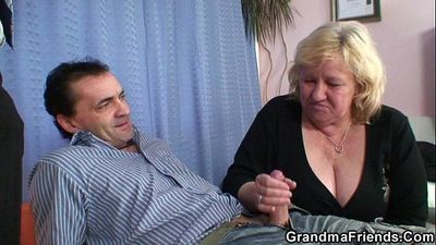 Grandma shallows two cocks then fucks - 6 min