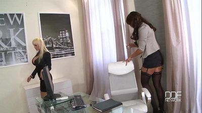 Busty cock crazed secretaries drilled by the BossHD