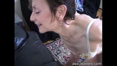 Oldie mistress wants young man to lick her ass hole - 2 min