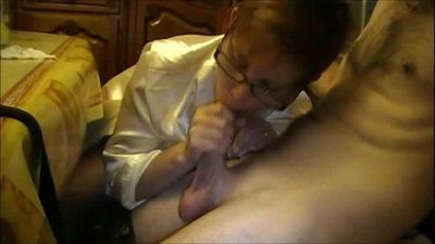 Horny Granny With Glasses Sucks Dick - 2 min