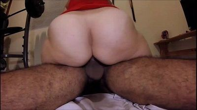 Fifty Year old With a Big Ass Riding Cock - 2 min