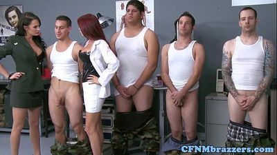Cumlicking army milfs dominate new recruit - 8 min
