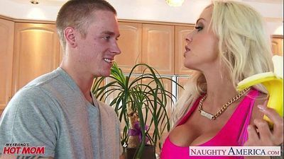 Busty mom Nina Elle gets nailed and facialized - 9 min HD