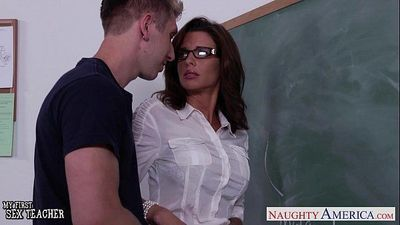Stockinged sex teacher Veronica Avluv fuck in class - 8 min HD