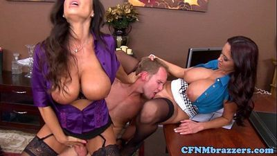Busty cfnm milfs make a little guy cum - 8 min