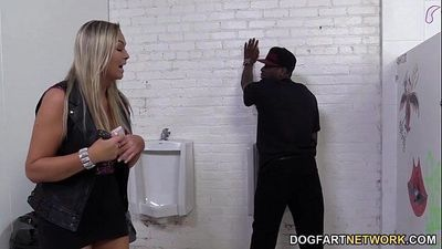 Abbey Brooks Assrides A Black Cock In A Restroom - 8 min HD