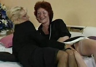 Granny fucks her lesbian friends pussy with strapon - 6 min