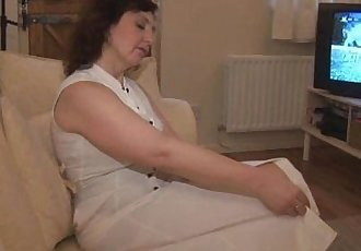 Busty mature milf panty tease and striptease - 7 min