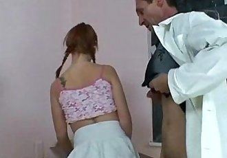 Naughty redhead girl riding an old male