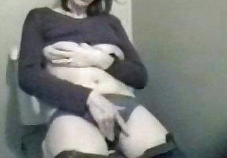 My horny mum masturbating in toilet. Hidden cam - 32 sec