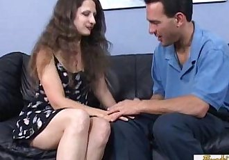 Curly brunette cougar gets a facial from her neighbor