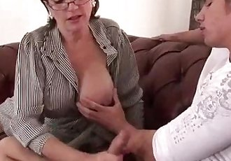 Cuckolds wife tugs younger cock - 5 min