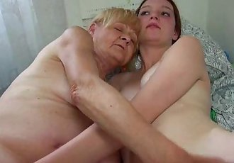 Nice Old granny teaches Nice girl masturbate - 8 min HD